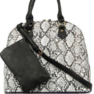 Faux Snakeskin Top Handle Satchel Bag BLACK/GY